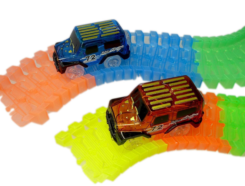 CT Spielzeug Auto mit 3 LED Im Dunkeln Leuchten Zubehör Kompatibel mit den Meisten Auto Rennen Magic Tracks (rot) C&T