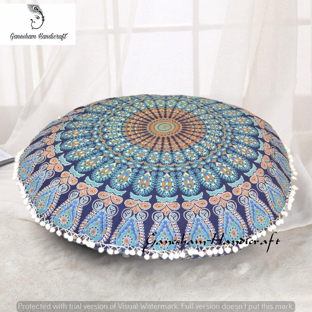 GANESHAM HANDICRAFT - Blue Mandala Tapestry Seating Pouf Ottoman Cover Hippie Decorative Bohemian Mandala Cushion Cover Dog Or Cat Bed Cover Handmade Pillow Insert Throw Pillow Cover Floor Pillow