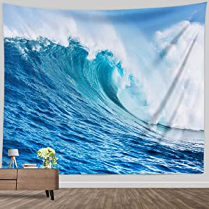 Ocean Wave Tapestry, Seaside Marine Surfing Windy Sea Tapestry Blue and White Wall Hanging for Bedroom Living Room Wall Decor Blanket