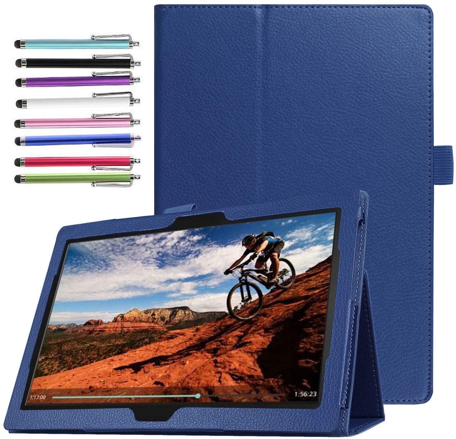 Epicgadget Case for Lenovo Tab M10 TB-X605F Slim Lightweight Folio PU Leather Folding Stand Cover Case for Lenovo Tablet 2018 Tab M10 10.1 Inch Display (Navy Blue)