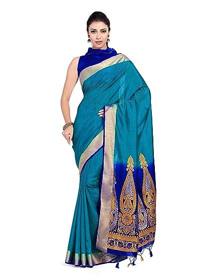945b57080836f4 MIMOSA Women's Art Silk Saree Kanjivaram Style with Contrast Blouse (105,  Blue): Amazon.in: Clothing & Accessories