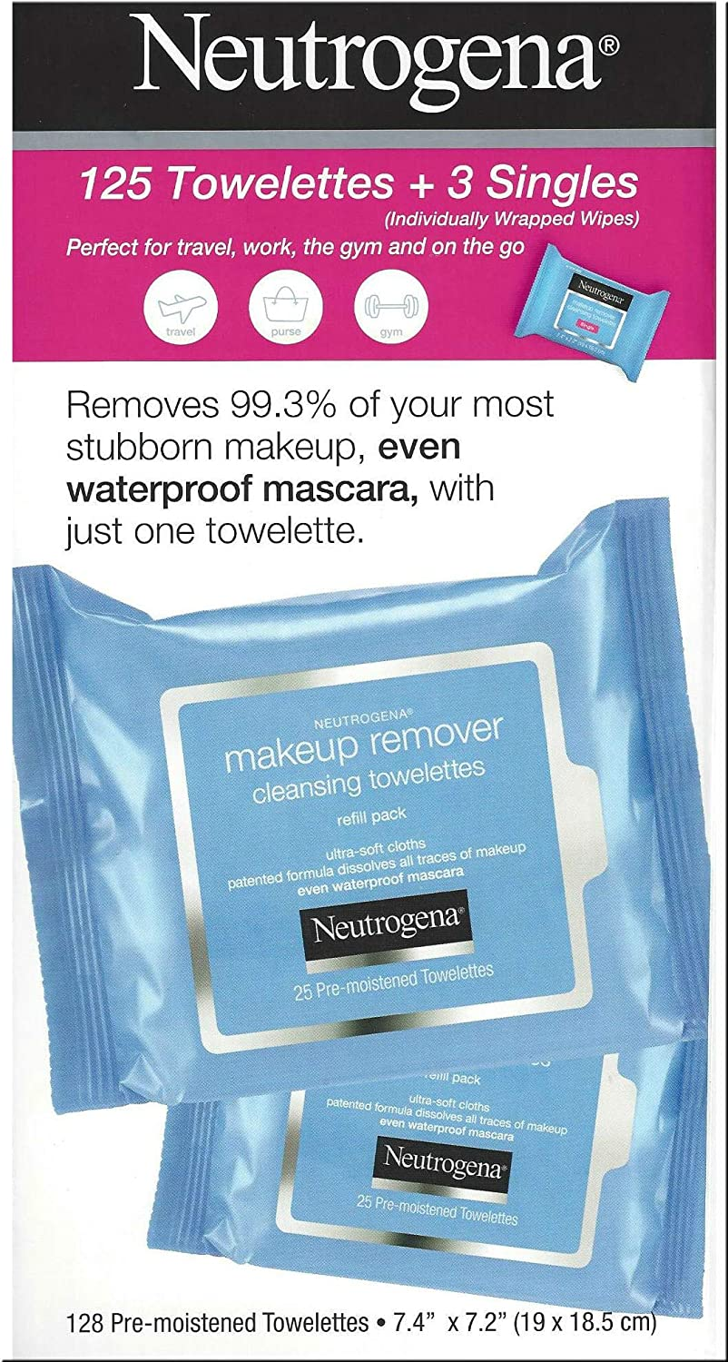 Neutrogena Makeup Remover Cleansing Towelettes, Daily Face Wipes to Remove Dirt, Oil, Makeup Waterproof Mascara, 25 ct 5 pack 3 Bonus Pouches