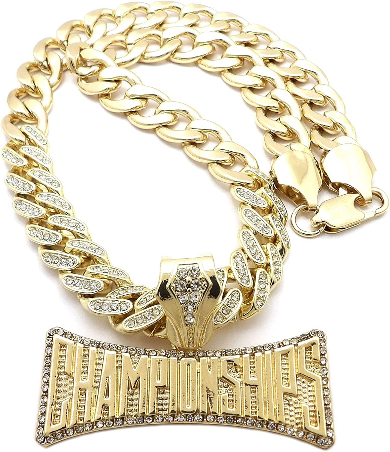 NYFASHION101 Stone Stud Edge Championships Pendant Partial Studded 11mm Cuban Chain Necklace