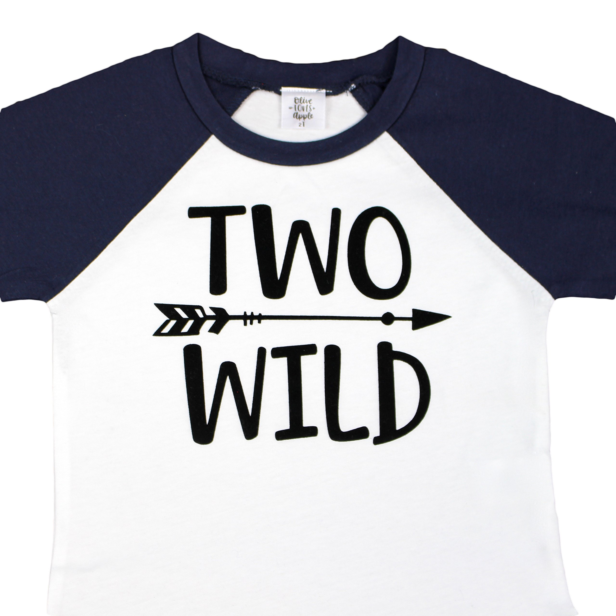 Olive Loves Apple Two Wild 2nd Birthday Shirt For Toddler Boys 2nd Birthday Shirt Boy 3/4 Sleeve