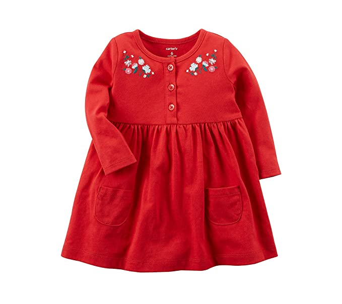 cb0cd5438 Amazon.com: Carter's Baby Girls' Long Sleeve Embroidered Jersey ...