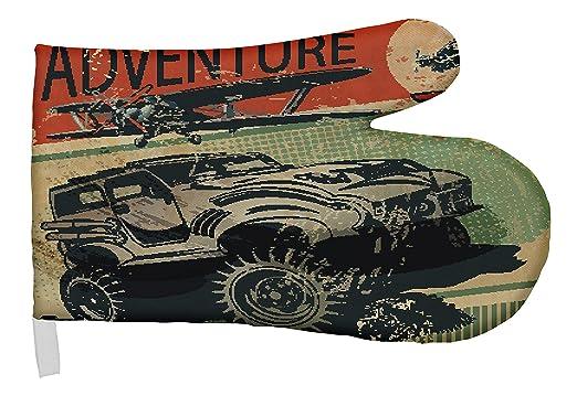 Guantes Cocina Horno Coches Vintage aventura jeep impreso: Amazon ...