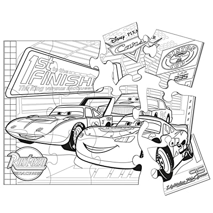 Amazon.com: Disney\'s World of Cars Jumbo Coloring Puzzle ...