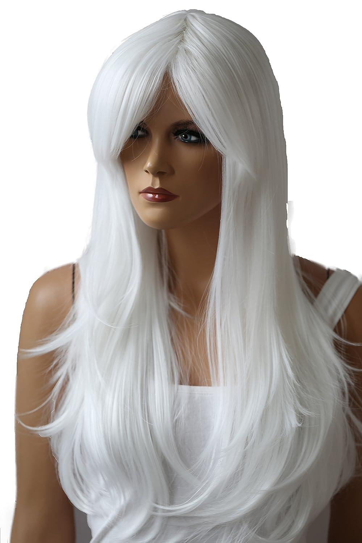 PRETTYSHOP Parrucca da donna Fashion Lunga Hair Ricci ondulati wavy resistente al calore grigio chiaro #gray WH4