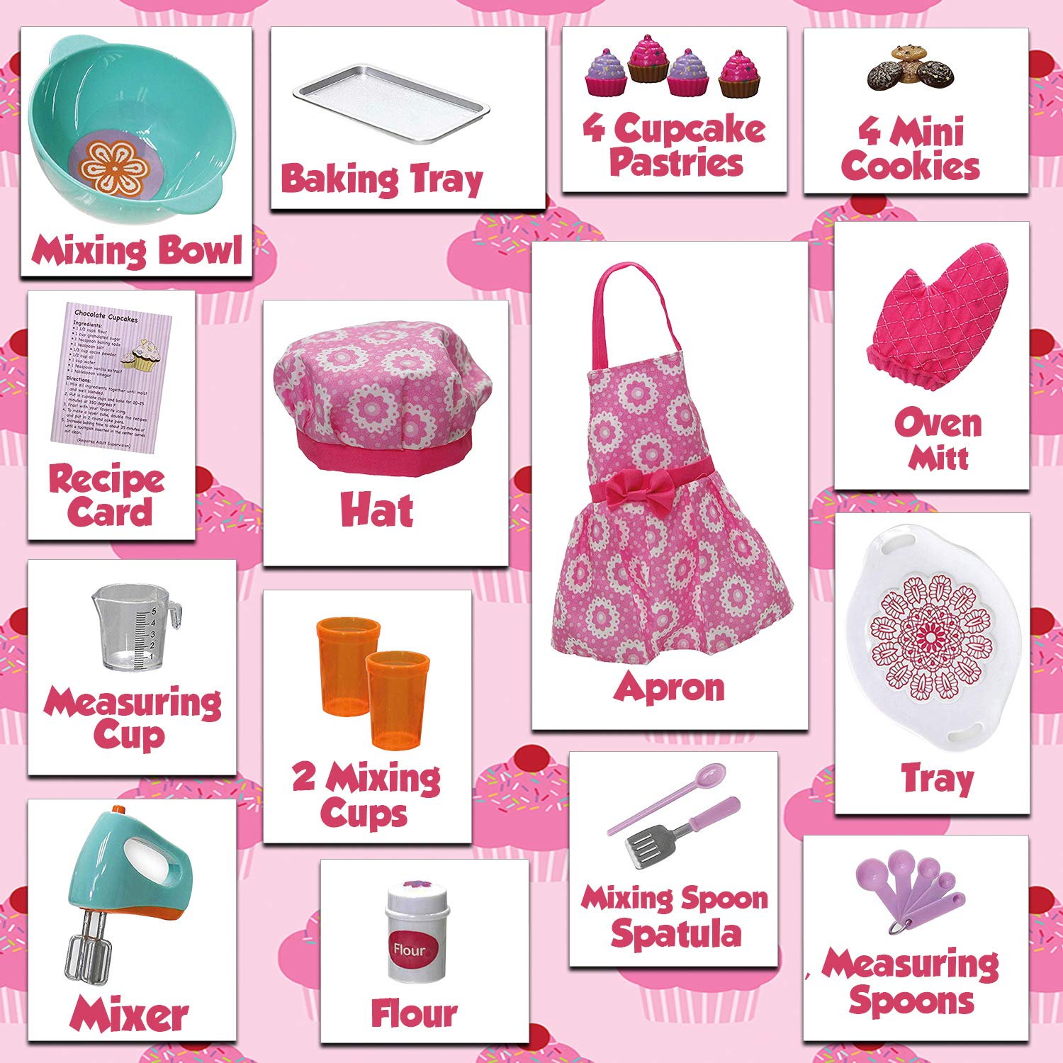 Baking and Cooking Utensils Set Beverly Hills Doll Baking Accessories Set 20 Piece Baking Set with Apron and Play Food Oven Mitt Fits 18 Inch American Girl Doll