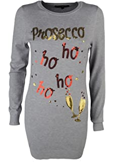 WOMENS LADIES GLITTER TEXT PROSECCO HO HO LONG SLEEVE SWEATSHIRT JUMPER TOP 8-14