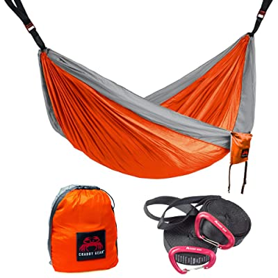 Crabby Gear Kings Peak Camping Hammock - 11 Ft. Double Hammock with 30 Second Suspension System - Tree Hammocks - Nylon Straps - Portable - Lightweight - Ultimate Hang: Sports & Outdoors