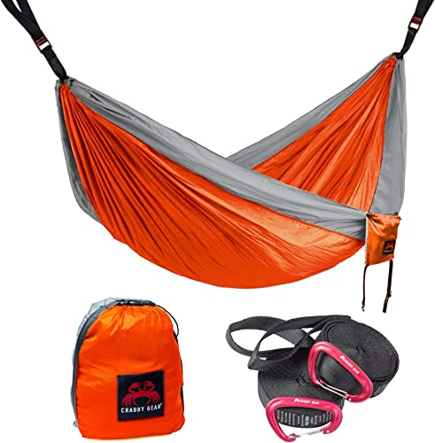 Crabby Gear Kings Peak Camping Hammock – 11 Ft. Double Hammock with 30 Second Suspension System – Tree Hammocks – Nylon Straps – Portable – Lightweight – Ultimate Hang
