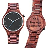 Engraved Wood Watch for Mens Personalized - Custom Red Sandal Wooden Watch