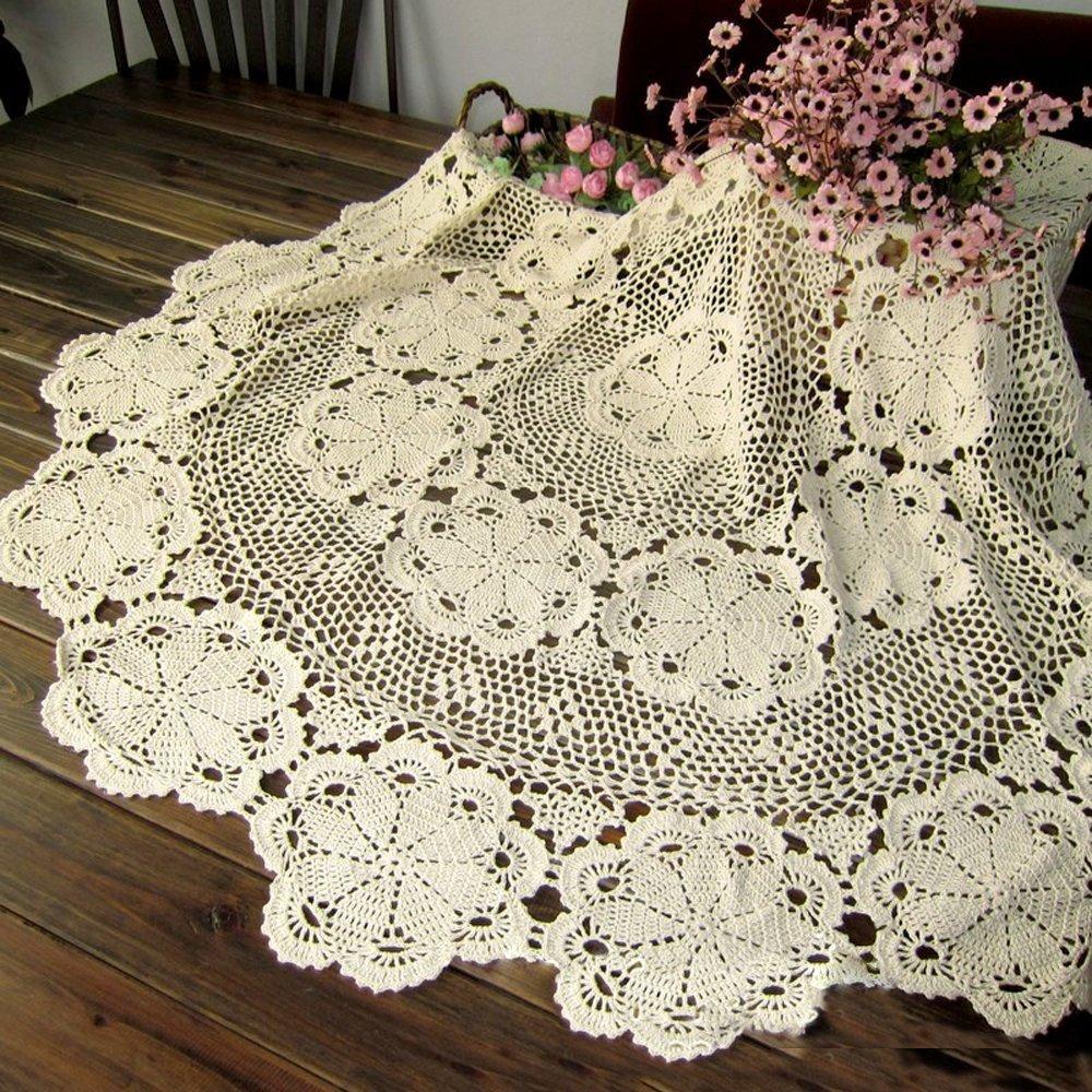 Amazon Ustide 102 Inch Crochet Round Tablecloth Vintage Beige