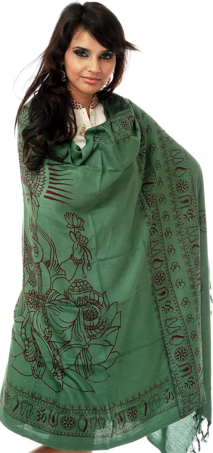 Exotic India Green Printed Ganesha Prayer Shawl SRA97-ca