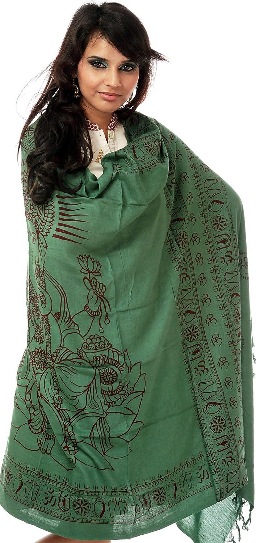 Exotic India Green Printed Ganesha Prayer Shawl SRA97-ca