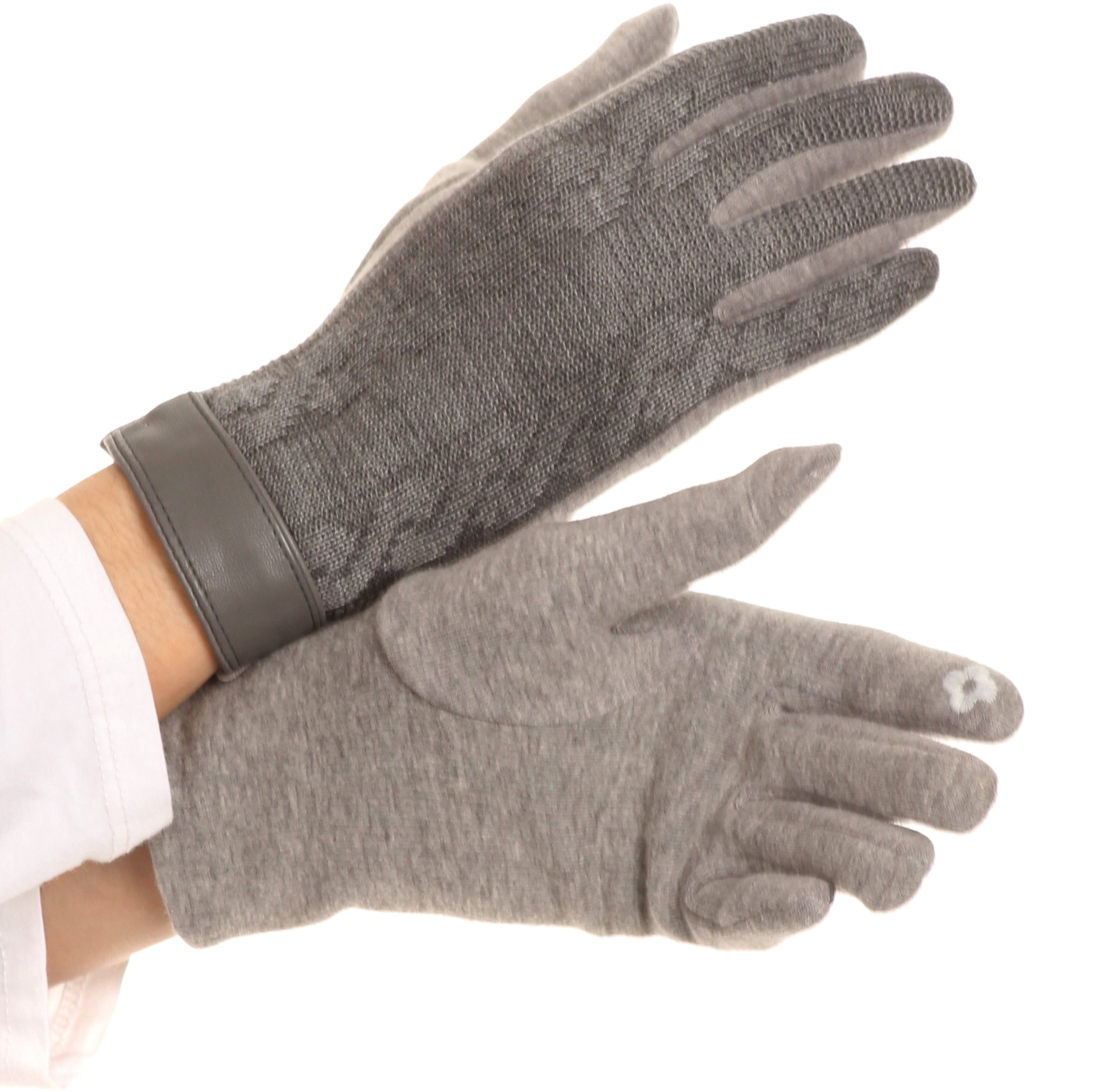 Sakkas 16167 - Rayanne Soft Classic Knit Faux Leather Wrist Band Touch Screen Warm Gloves - Grey - L/XL
