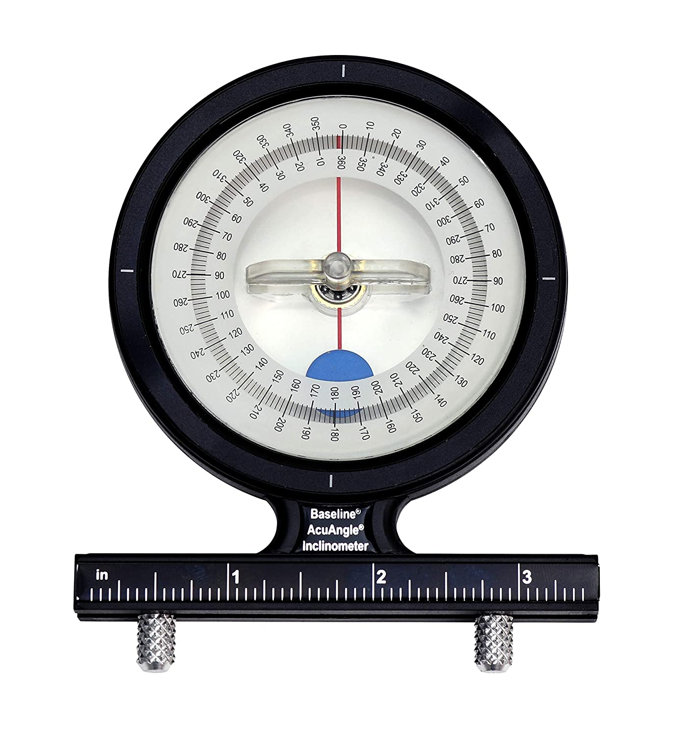 Baseline AcuAngle Inclinometer with Adjustable-Feet for Precision Measurement, Testing and Evaluation of Range of Motion of Neck, Hip, Spine, Elbow, Knee, Shoulder, Ankle, Wrist and MCP Joint