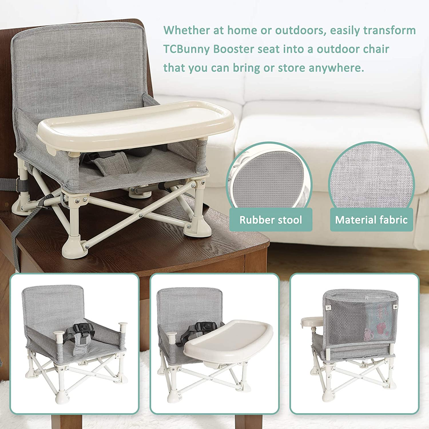 Compact Folding Portable High Chair for Baby Dining Grey TCBunny Travel Booster Seat with Removable Tray