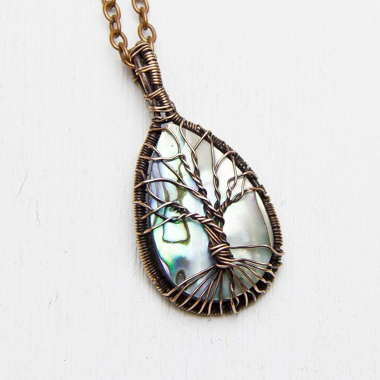 pure Copper Jewelrybeautiful round shape pendantAbalone Jewelry gift her Handmade Pendant Abalone Shell Gemstone Wire Wrapped Pendant