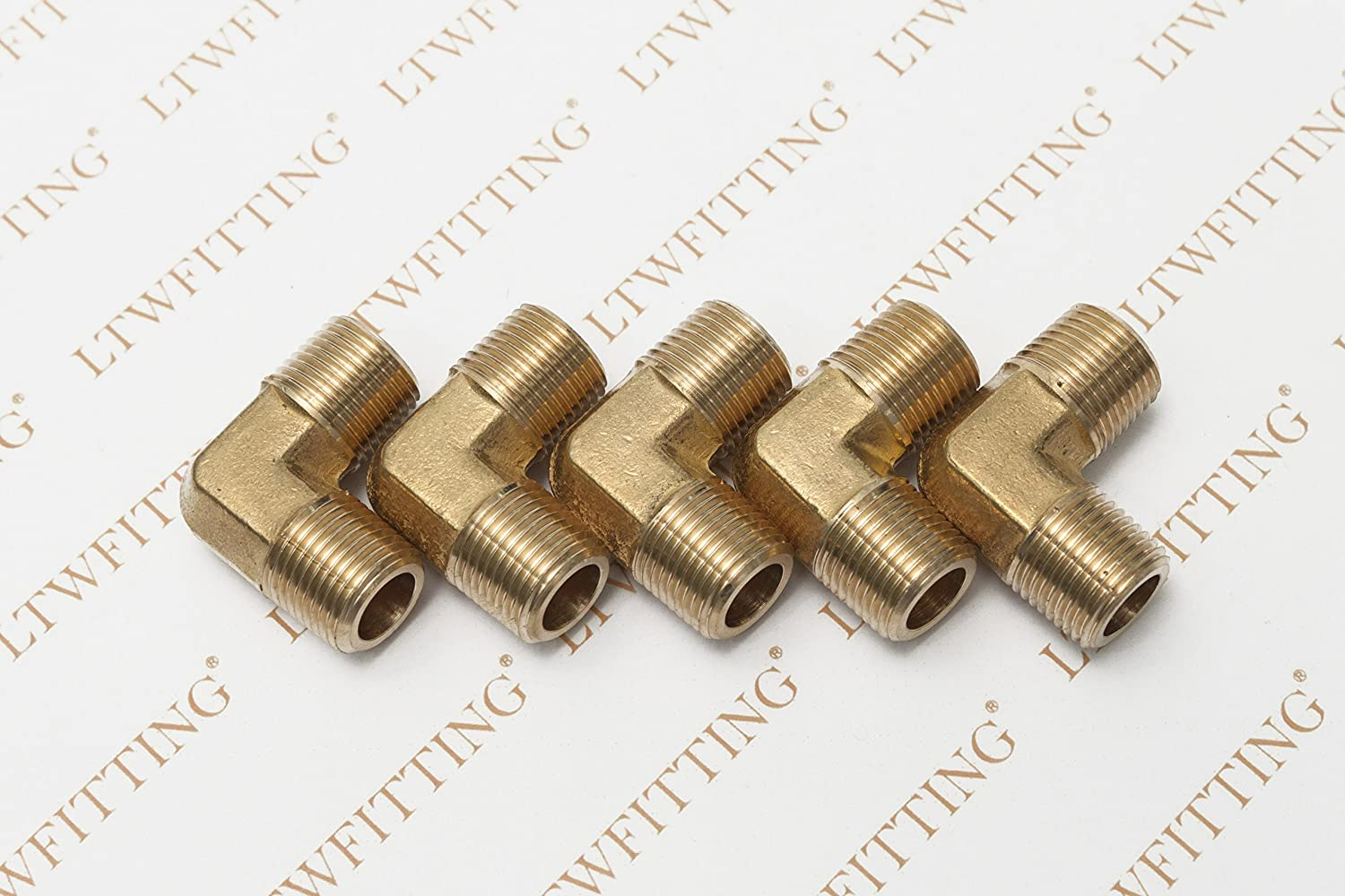 LTWFITTING Brass Pipe Male 90 Deg Elbow Fitting 1//4-Inch NPT Water Fuel Pack of 5
