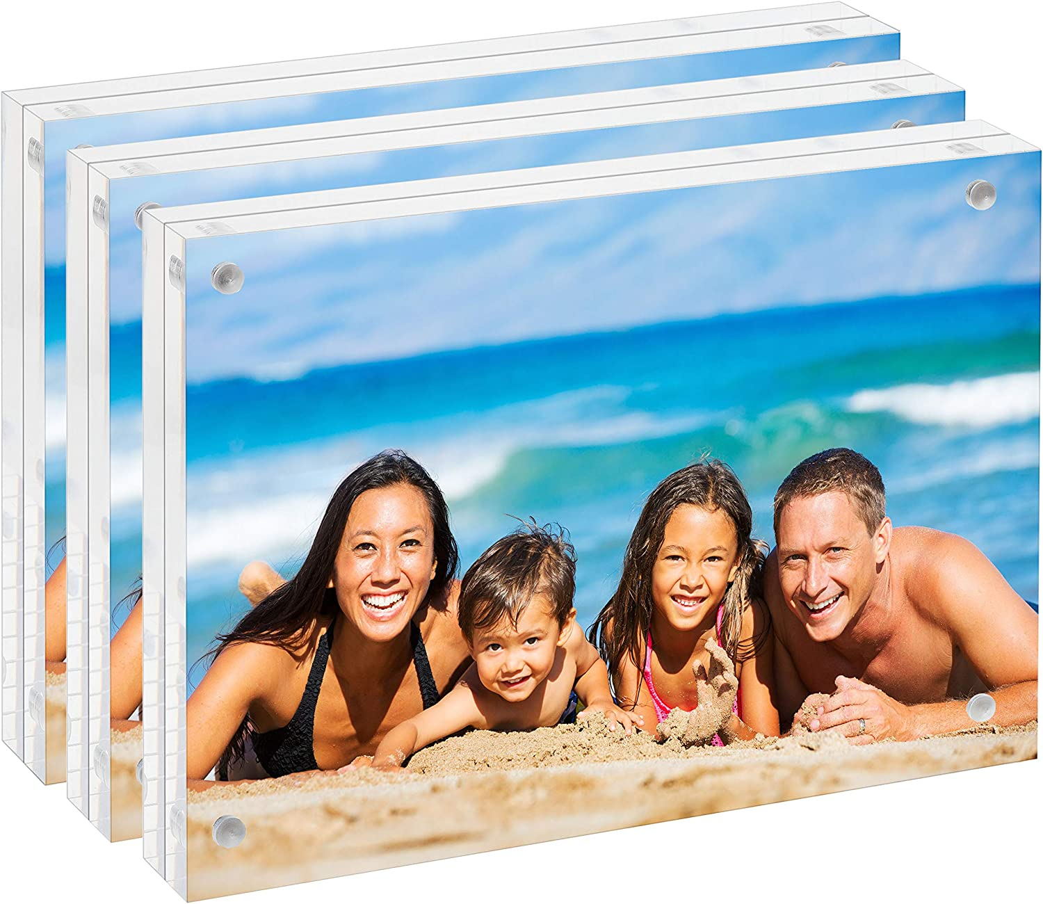 Clear Acrylic 4x6 Picture Frame: Unum Magnetic Floating Picture Frames / Photo Display Stands - Frameless Double Sided Photo Holder - 4 x 6 Inch Acrylic Block Frame for a Desk, Shelf or Table - 3 PACK