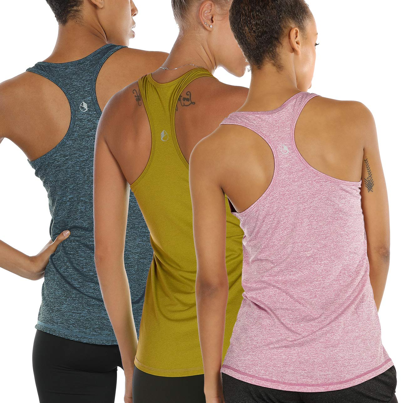 icyzone Workout Tank Tops for Women - Racerback Athletic Yoga Tops, Running Exercise Gym Shirts(Pack of 3) (M, Mustard/Lilac Snow/Teal) by icyzone