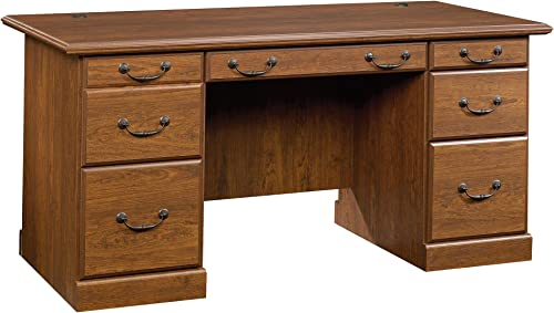 Sauder Orchard Hills Executive Desk, Milled Cherry finish