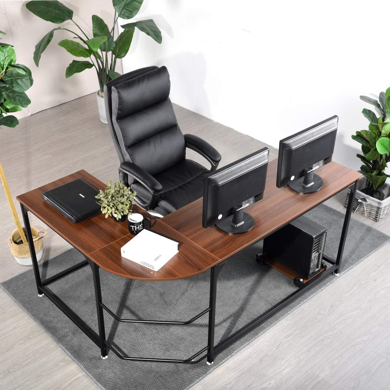 WeeHom Reversible L Shaped Desk Corner Gaming Computer Desks for Home Office PC Workstation Table