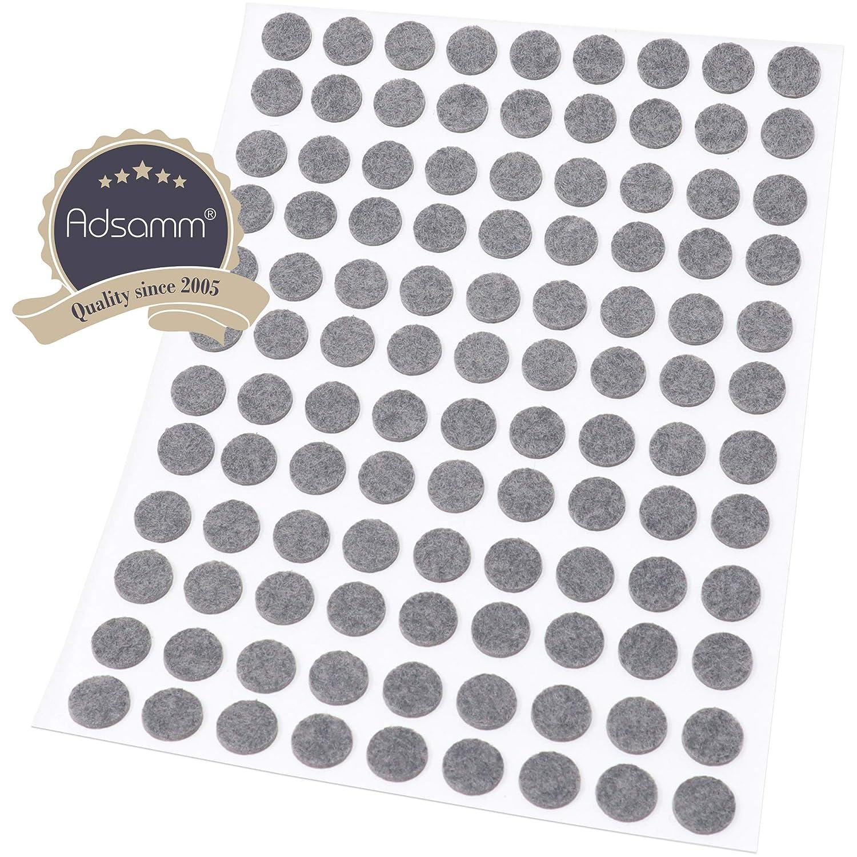 108 almohadillas de fieltro de 10 mm de di/ámetro color gris Adsamm/® redondas 1,5 mm de grosor de fieltro autoadhesivas