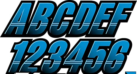 Stiffie Hardline Blue//Berry 3 Alpha-Numeric Registration Identification Numbers Stickers Decals for Boats /& Personal Watercraft