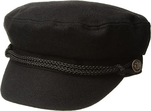022f254fb6ae7 San Diego Hat Company Women's Cabbie w/ Braid Trim and Metal Buckle Black  One Size