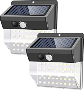 Solar Lights Outdoors 136 LED/3 Modes, Security Motion Sensor Night Lights, Wire-Free, IP65 Waterproof, Solar LED Light for Garden, Fence, Patio, Garage and Stairs (2 Pack)
