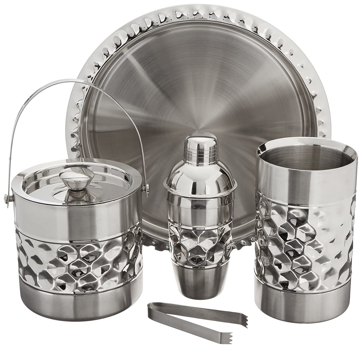 Francois et Mimi Stainless Steel Bar Tools Set, Including Ice Bucket, Wine Chiller, Cocktail Shaker and Serving Tray 6569U03AGO