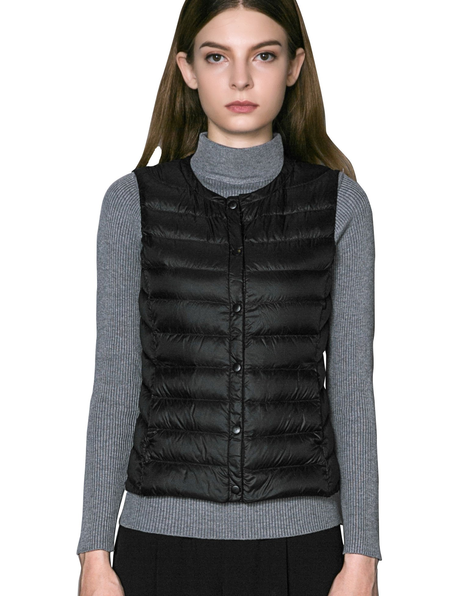 CHERRY CHICK Women's Ultralight Down Spring Vest (XL, Matt Black)