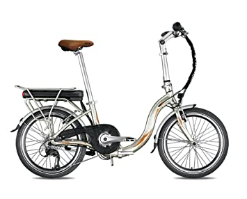 Bicicleta eléctrica plegable miesty Bello oro – Batería: Li-Ion Panasonic 36 V,