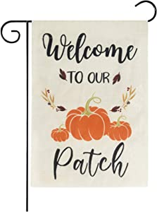 Besslly Fall Garden Flag Welcome Pumpkin Thanksgiving Garden Flags Double Sided Yard Flags 12 x 18 Inch Autumn Fall Decor for Home Outside