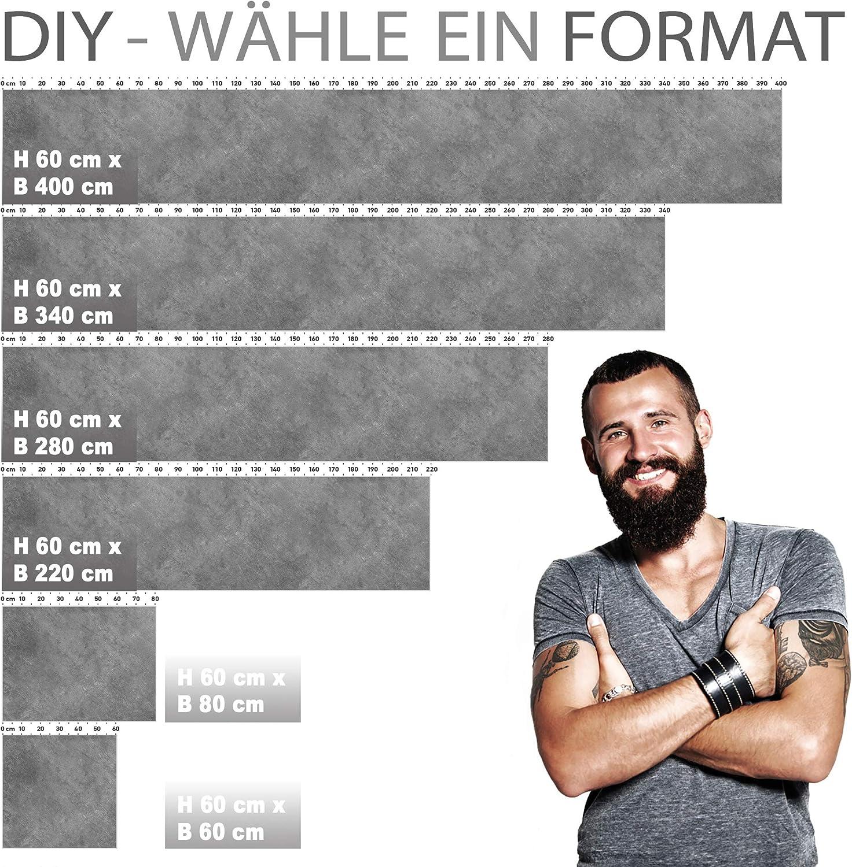 Versteift StickerProfis K/üchenr/ückwand selbstklebend 20GREY 1.5mm Premium 60 x 400cm alle Untergr/ünde Hart PET Material