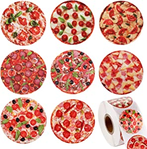 Blulu 600 Pieces Pizza Stickers Roll with Various Round Photo Pizza Designs, Decorative Seal Stickers for Pizza Themed Party Birthday Halloween Party Supply Classroom Reward Sticker