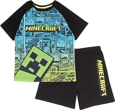 Minecraft Enredadera cómica Niños Corto Pijamas Set | mercancía Oficial | Regalos PS4 PS5 del Jugador de Xbox, los Chicos del Colegio Pijamas, Ropa de ...