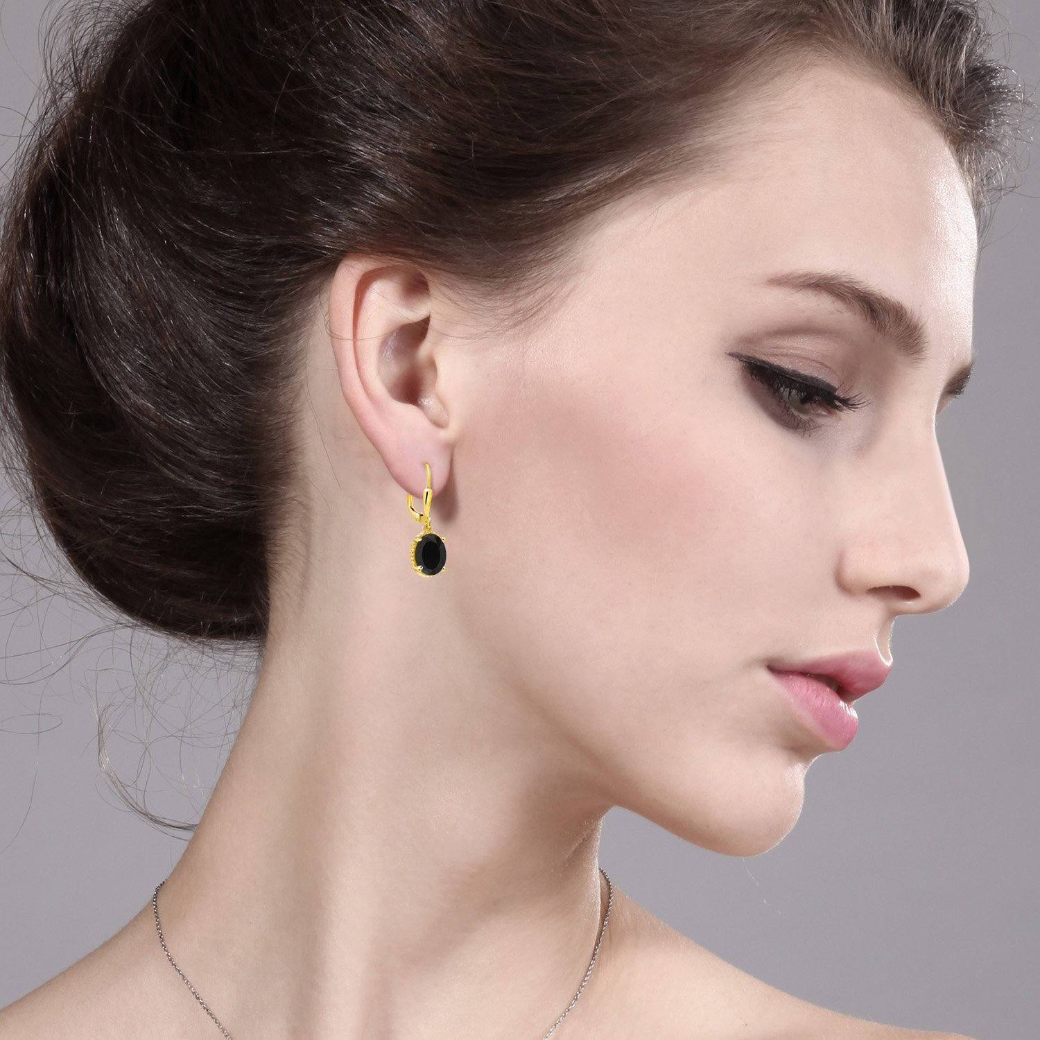 4.00 Ct Oval Black Onyx 18K Yellow Gold Plated Silver 27mm Length Dangle Earrings by Gem Stone King (Image #2)