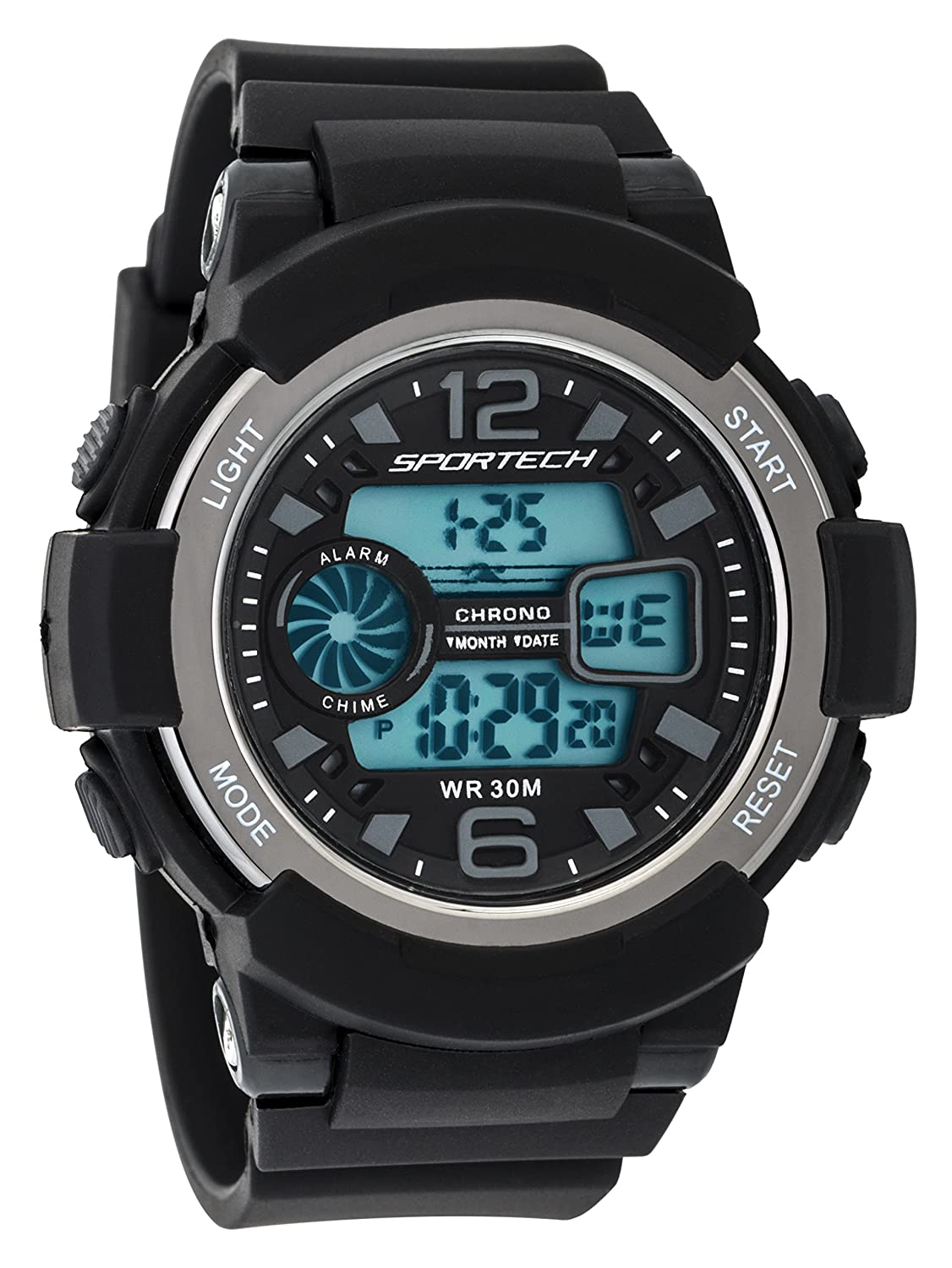 Sportech Men's/Women's | Classic Black & Grey Digital Water Resistant Sport Watch | SP12004