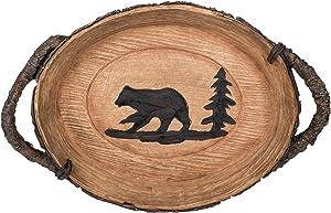Slifka Sales Co. Decorative Polyresin Cabin Lodge Style Bear Tray