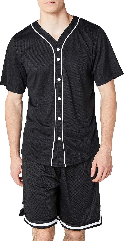 Urban Classics Camiseta Baseball Mesh Jersey Con Botones A Presión con Vivos a Contraste, para un Look Deportivo, para Vestir Arreglado pero Casual en white, talla M para Hombre