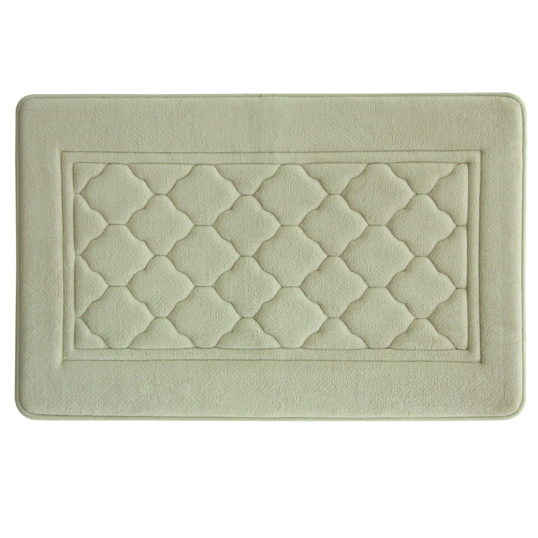 Microban Antimicrobial Memory Foam, Non-Slip, Florence Bath Rug, Aqua, 17 x 24 17 x 24 09692E