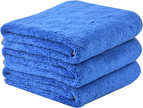 KinHwa Microfibre Car Cleaning Cloths Car Drying Towel Ultra Absorbent Car Wash Cloths Scratch Free Car Detail Towels Blue, 16inchx16inch