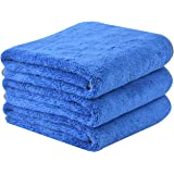 KinHwa Microfibre Car Drying Towels Super Absorbent Large Car Cleaning Cloths Plush Thick Car wash Towels Ultra Soft Car Detailing Cloths 380gsm 40cm x 60cm 3 Pack Blue