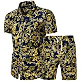Men's Floral Beach Outfits Sets 2 Piece Tracksuit Casual Button Down Short Sleeve Hawaiian Shirt and Shorts Suit