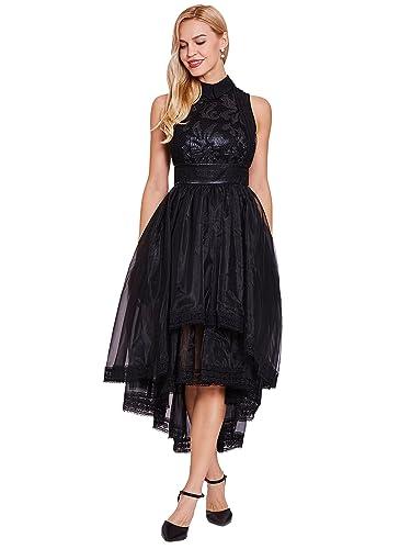 CLOCOLOR Dramatic Lace High Low Lapel Prom Dress