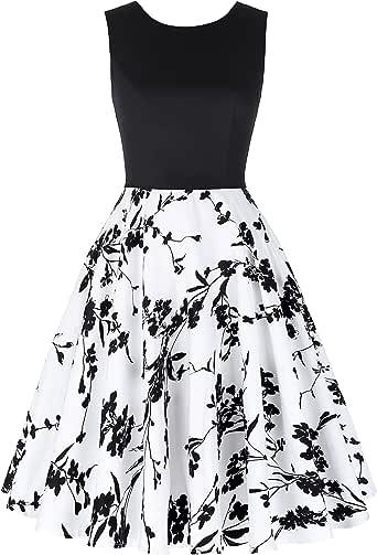 GRACE KARIN Sleeveless Crew Neck Patchwork Vintage Dress